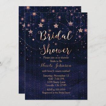 bridal shower starry night whimsical purple gold invitation