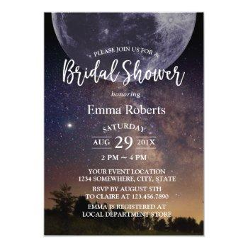 bridal shower summer starry night sky with moon invitation