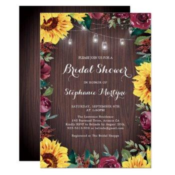 bridal shower sunflower burgundy rose jar lights invitation