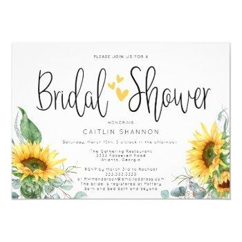 bridal shower sunflower with yellow hearts invitation