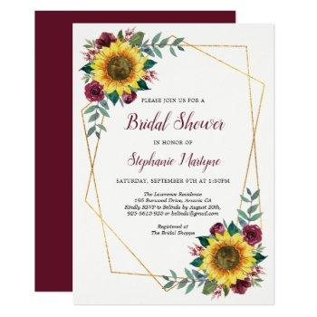 bridal shower sunflowers geometric floral invitation