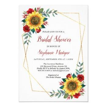 bridal shower sunflowers geometric floral red invitation