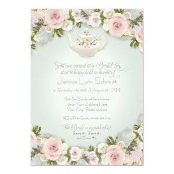 bridal shower tea party blush rose succulent leaf invitation