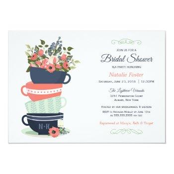 bridal shower tea party invitation | blue & coral