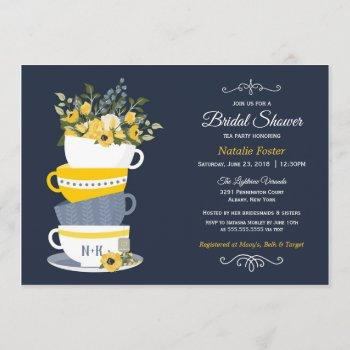 bridal shower tea party invitation | navy & yellow
