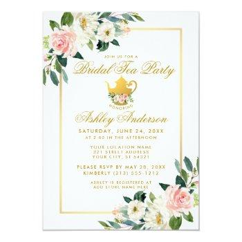 bridal shower tea party pink floral gold invite