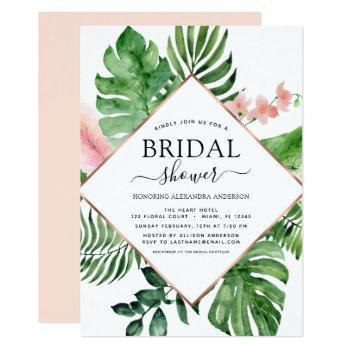 bridal shower tropical palm watercolor geometric invitation