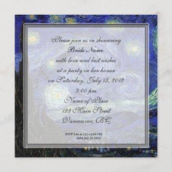 bridal shower,vincent van gogh, starry night invitation