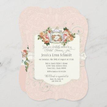 bridal shower vintage elegant rose floral shaped invitation
