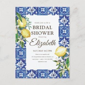 bridal shower vintage foliage blue mediterranean invitation postcard