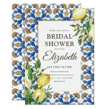 bridal shower vintage lemon foliage mediterranean invitation