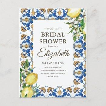 bridal shower vintage lemon foliage mediterranean invitation postcard
