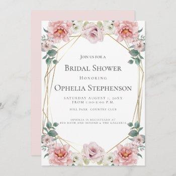 bridal shower   watercolor baby rosa pink flowers invitation