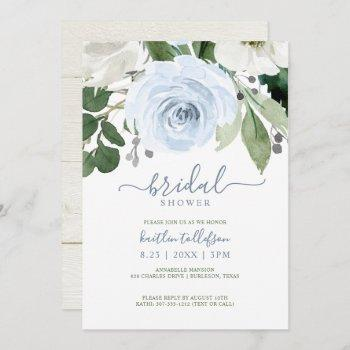 bridal shower watercolor bouquet dusty blue invitation