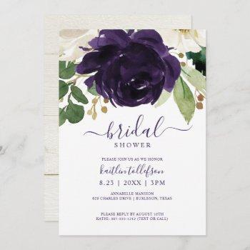 bridal shower watercolor bouquet plum purple invitation