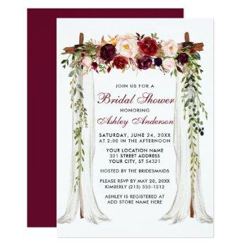 bridal shower watercolor burgundy floral canopy invitation