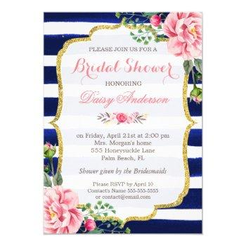 bridal shower watercolor floral navy blue stripes invitation