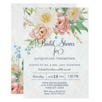 bridal shower watercolor navy blue n white floral invitation