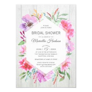bridal shower watercolor spring bouquet decoupage invitation