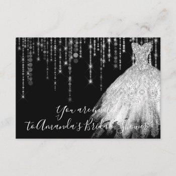 bridal shower waves dress gray grey silver black invitation