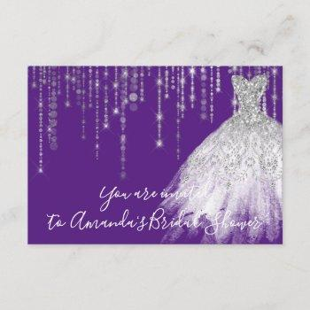 bridal shower waves dress gray grey silver purple invitation