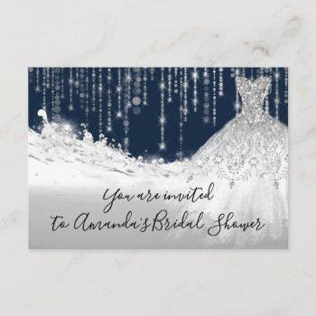 bridal shower waves glitter gray grey navy spark invitation