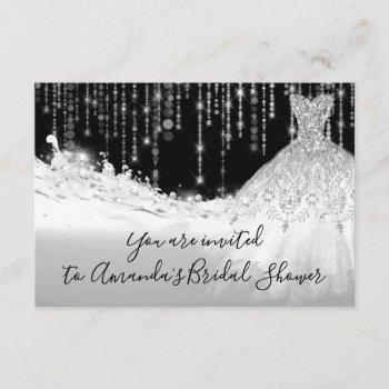bridal shower waves glitter gray grey silver black invitation