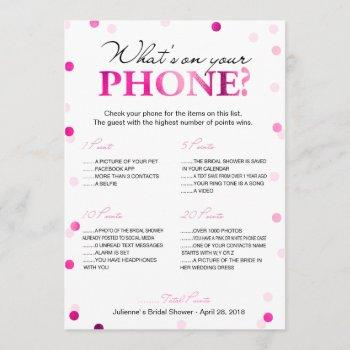 bridal shower what's on your phone game invitation