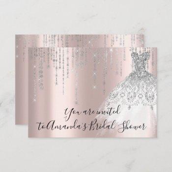 bridal shower white dress silver grey silver rose invitation