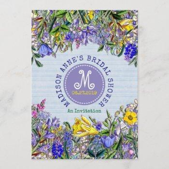 bridal shower wildflowers monogram vintage floral invitation