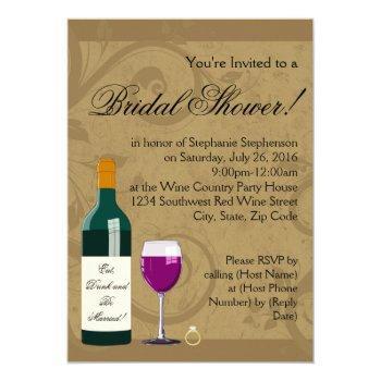bridal shower wine theme invitation