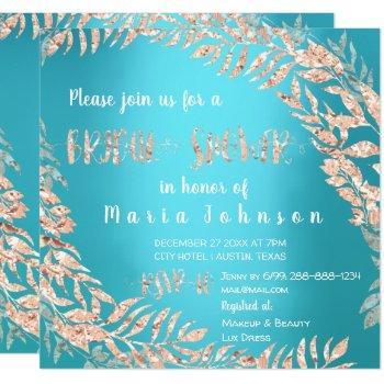 bridal shower wreath glitter rose gold blue ocean invitation