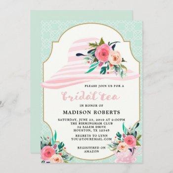 bridal tea hat watercolor flowers invitation