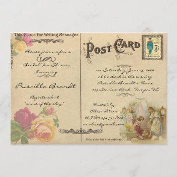 bridal tea shower honoring, style old postcard