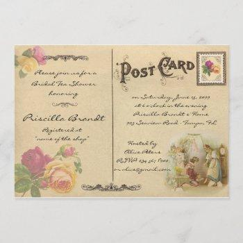bridal tea shower honoring, style old postcard 6