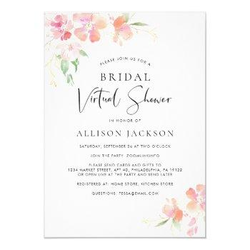 bridal virtual shower pink gold floral watercolor invitation