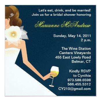 bridal wine brunette on navy invitation