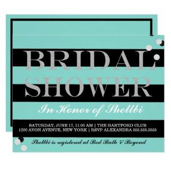 bride & bridesmaids black teal blue bridal shower invitation