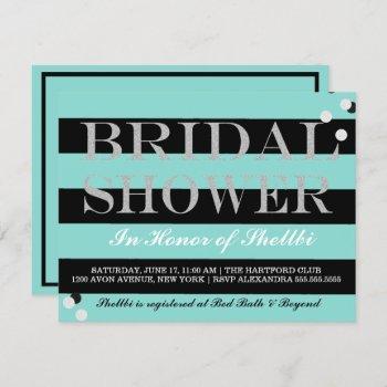 bride & bridesmaids black teal blue bridal shower invitation