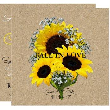 bride & co kraft autumn bride sunflower invitation