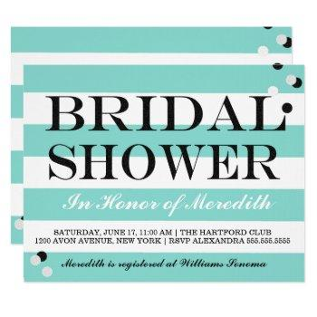 bride co little black dress teal blue shower party invitation