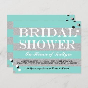 bride & co silver & teal bridal shower party invitation