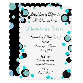 bride & co teal blue black polka dot party shower invitation