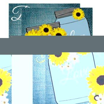 bride & co teal blue burlap sunflower shower party invitation