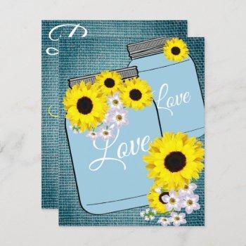 bride & co teal blue burlap sunflower shower party invitation
