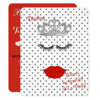 bride & co where's my lipstick shower tiara party invitation