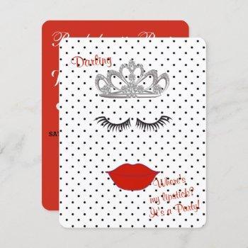 bride & co where's my lipstick shower tiara party invitation