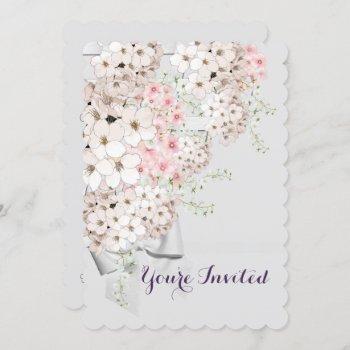 bride flowers lattice gray & pink shower party invitation