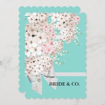bride flowers & lattice teal blue tiara party invitation