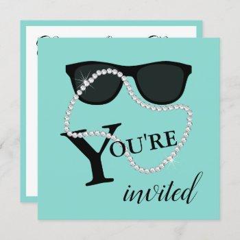bride glam celebrate diamond tiara party shower invitation